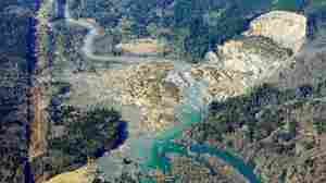The massive mudslide that killed more than a dozen people is shown in this aerial photo taken Monday near Arlington, Wash.