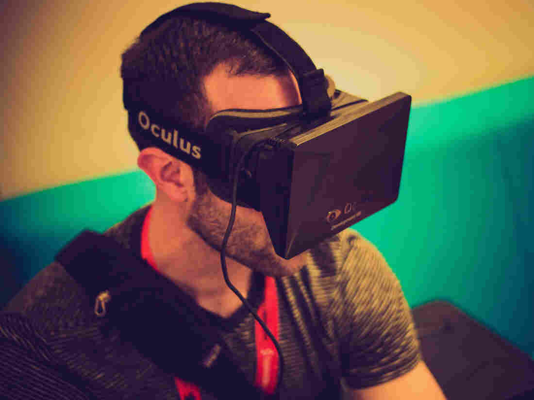 The Oculus Rift virtual reality goggles make for an immersive experience.