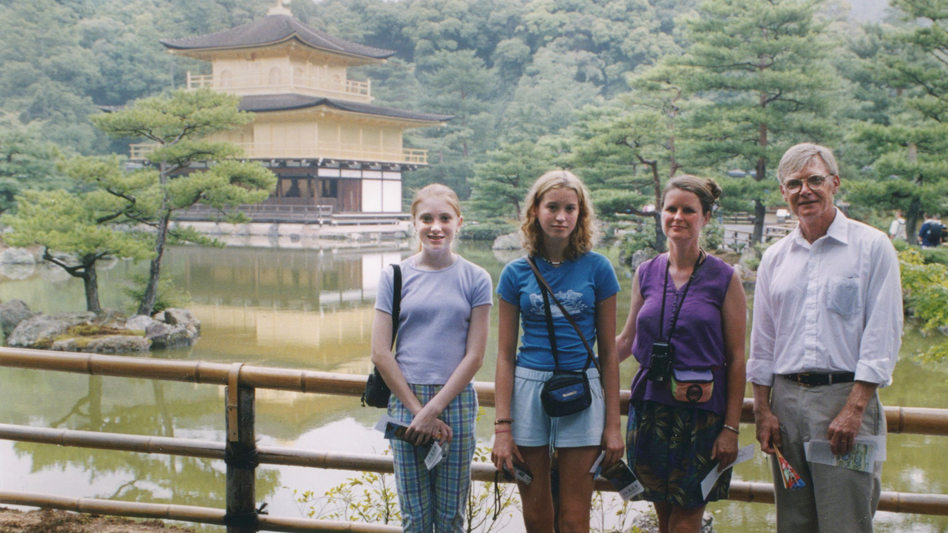 Theo Balcomb (left), her cousin Rose Sanborn, her aunt Kate Sanborn and her dad, Scott Balcomb, during their visit to Japan in 2001. (Courtesy of Theo Balcomb)