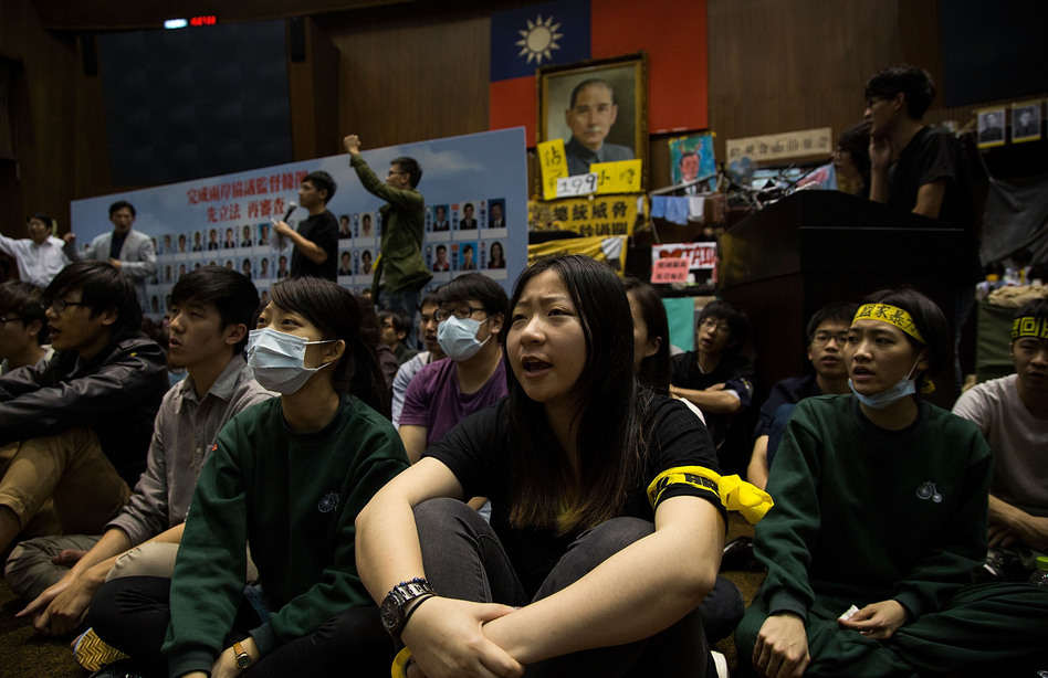 Students continue their week-long occupation of Taiwan's legislature. (Lam Yik Fei/Getty Images)