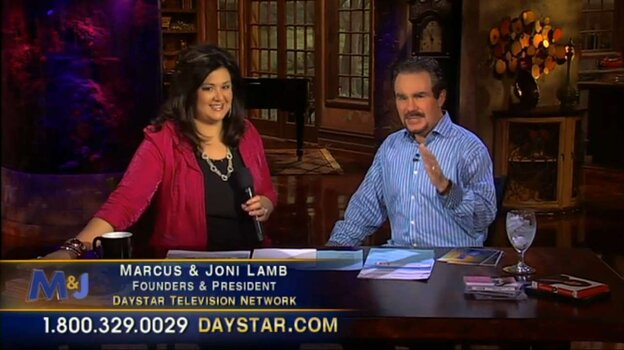 Marcus and Joni Lamb, founders of Daystar, also host their own show, as seen in this screenshot from their network. With $233 million in assets, Daystar is the largest religious television network in America that also calls itself a church.