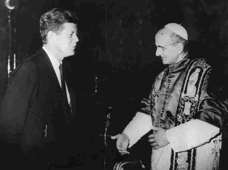 President John F. Kennedy, who was Roman Catholic, during an audience with Pope Paul VI at the Vatican in July 1963. Some of Kennedy's critics questioned whether he would take orders from the Vatican.