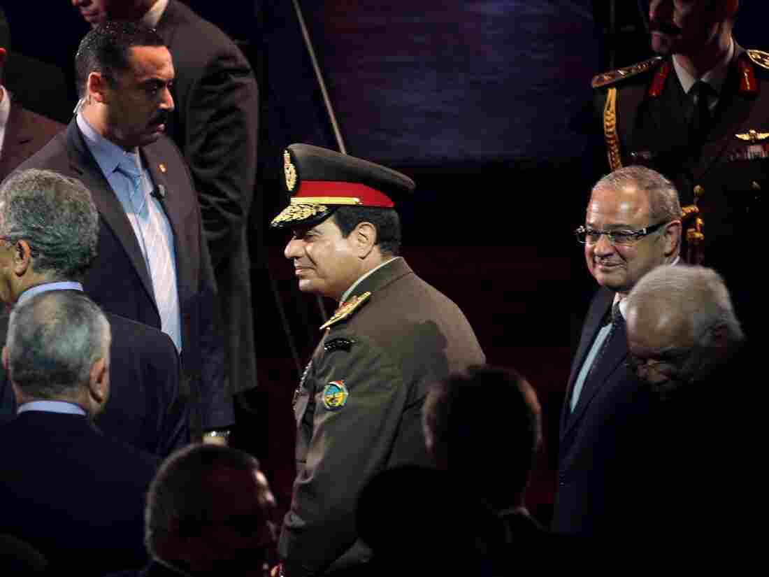 Egypt's defense minister, Field Marshal Abdel-Fattah el-Sissi (center), attends a gala event at the Cairo Opera House earlier this month.