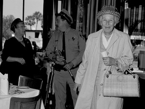 Mary Peabody leaves the dining room of a motel in St. Augustine, Fla., on March 31, 1964, after being arrested.
