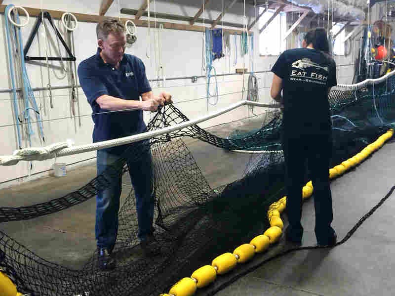 Rob Maxwell (left), and Casey Landaluce make fishing nets. Maxwell used to be a herring fisherman in Alaska.