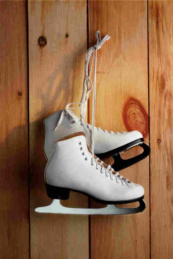Hanging ice skates.