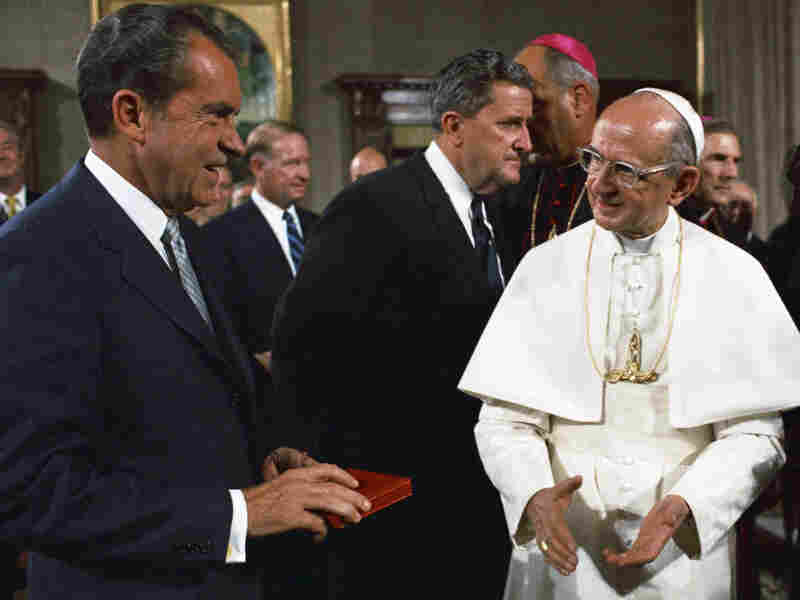 "President Richard Nixon visiting the Vatican and meeting with Pope Paul VI in September 1970. Nixon was once quoted as saying, ""I would have made a good pope."""