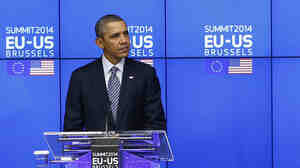 President Obama at a news conference Wednesday in Brussels.
