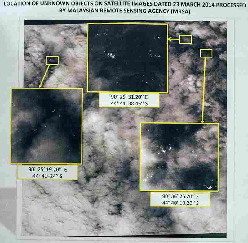 A picture of satellite images taken Sunday that show locations of potential objects related to the search for Malaysia Airlines Flight 370.
