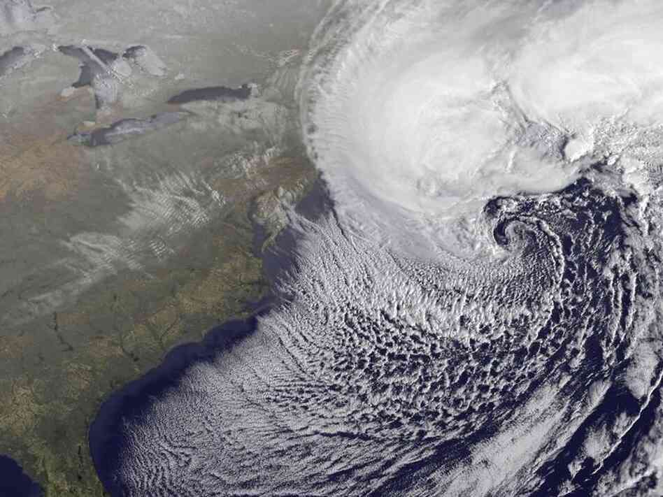 A NOAA satellite image of the storm off the coast of New England.