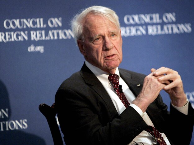 Former Secretary of Defense James Schlesinger speaks at the Council on Foreign Relations in New York in December, 2006.