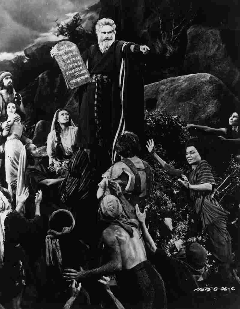 "Charlton Heston starred as Moses in The Ten Commandments in 1956. Cecil B. DeMille's film ""was really a Cold War film,"" says professor William Romanowski. ""And he, at the beginning of the film, comes out from behind a curtain and stands on a stage and announces that this is the story of the beginning of the birth of freedom."""