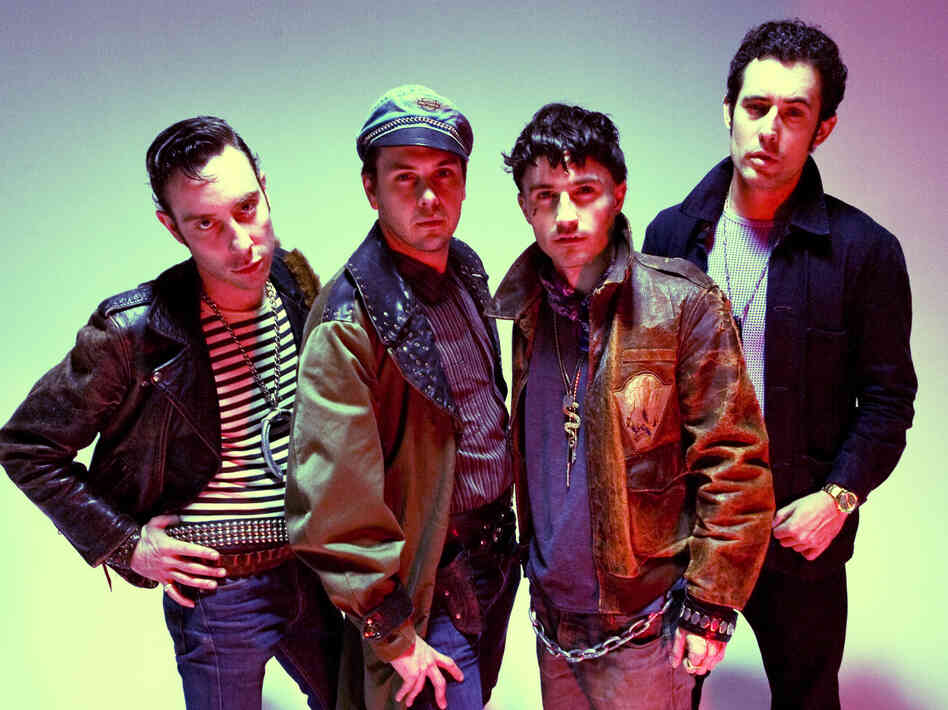 Black Lips' latest album is Underneath the Rainbow. Left to right: Jared Swilley, Joe Bradley, Cole Alexander, Ian St. Pé.