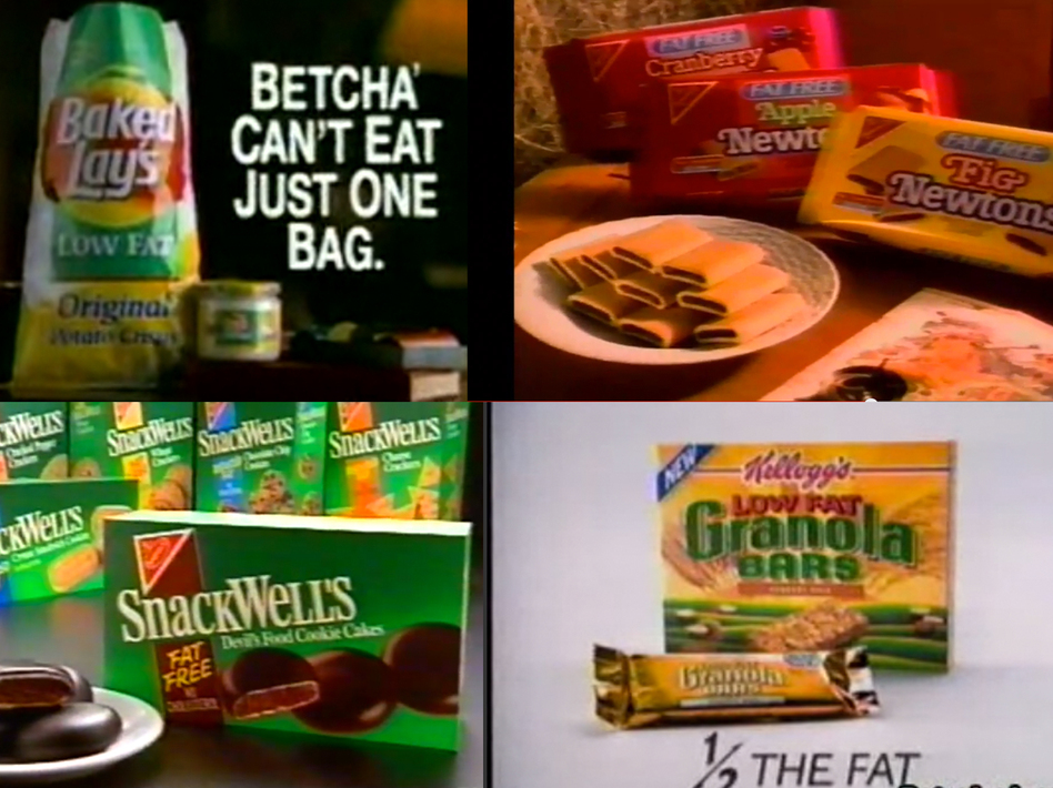 The 1990s were rife with low-fat packaged snacks, from potato chips to cookies. (Youtube and RetroJunk)