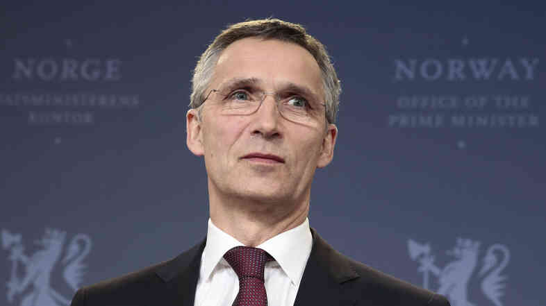 Former Norwegian Prime Minister Jens Stoltenberg pauses during an address to the media in Oslo on Friday, after NATO ambassadors chose him to be the next head of the alliance.