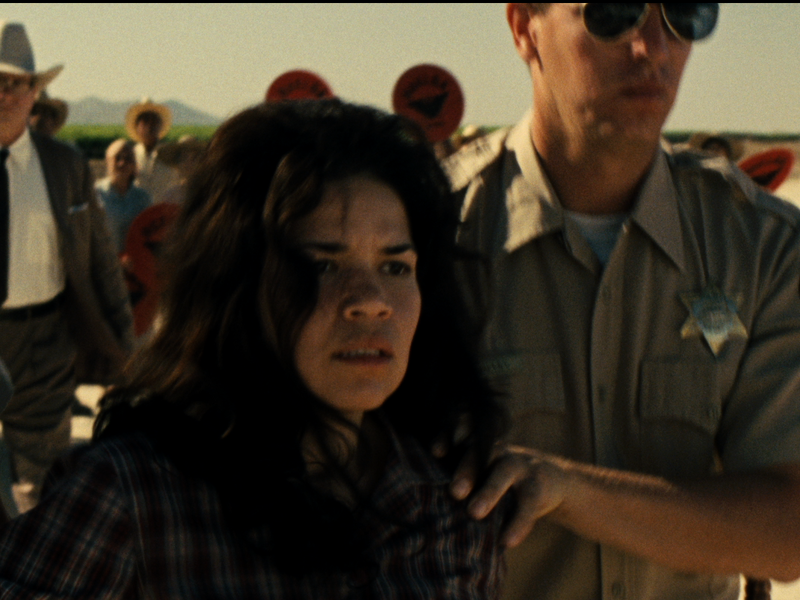 America Ferrera plays Helen Chavez, who in the film gets arrested for screaming Huelga (strike).