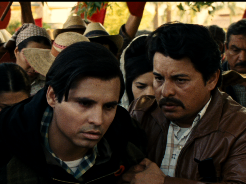 Cesar Chavez (as played by Peña) emerges from his 25-day fast.
