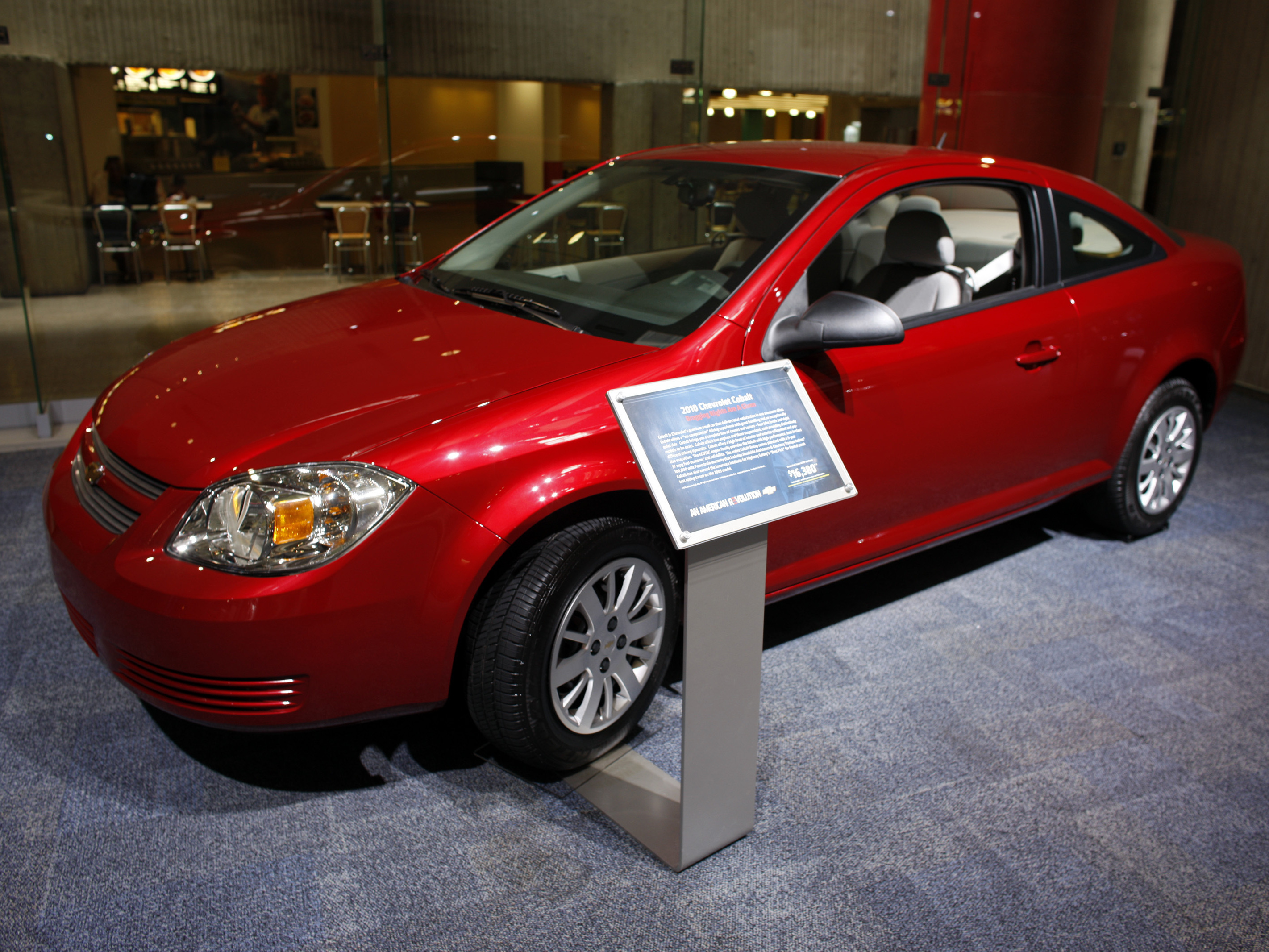 A 2010 Chevrolet Cobalt Coupe Sits On Display At General Motors Headquarters In Detroit 2009 Image David Zalubowski Ap