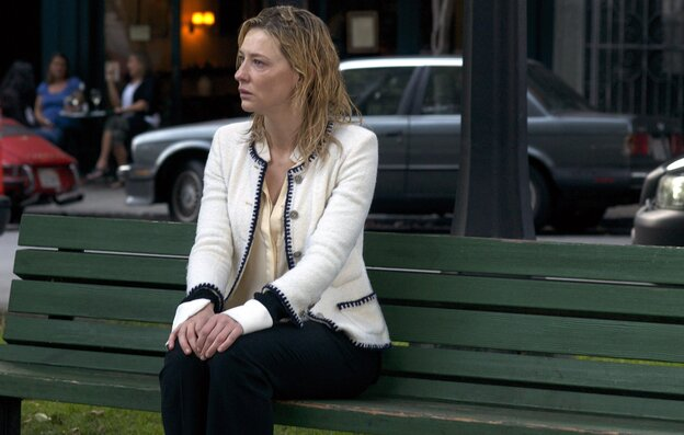In Blue Jasmine, Cate Blanchett plays a wealthy New York socialite who has it all, loses it all and ends up delusional on a park bench.