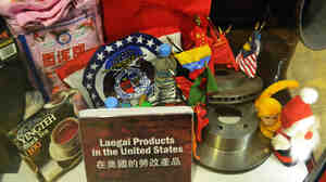 Products produced by prison labor in China are on display at the Laogai Museum in Washington,