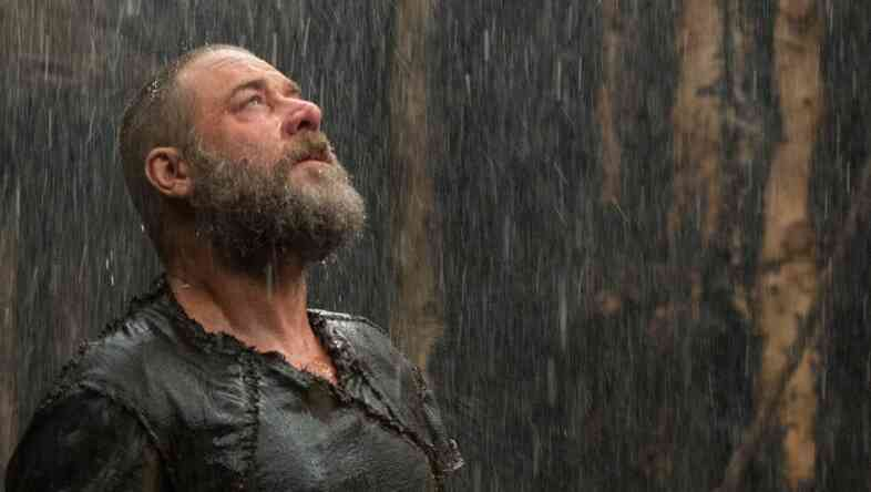 The heavens open on Russell Crowe, as Noah, in the new Bible-based film.