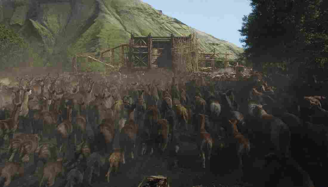"Thousands of computer-generated animals flock to the ark. The digital rendering was ""really complex and intense,"" director Darren Aronofsky says."
