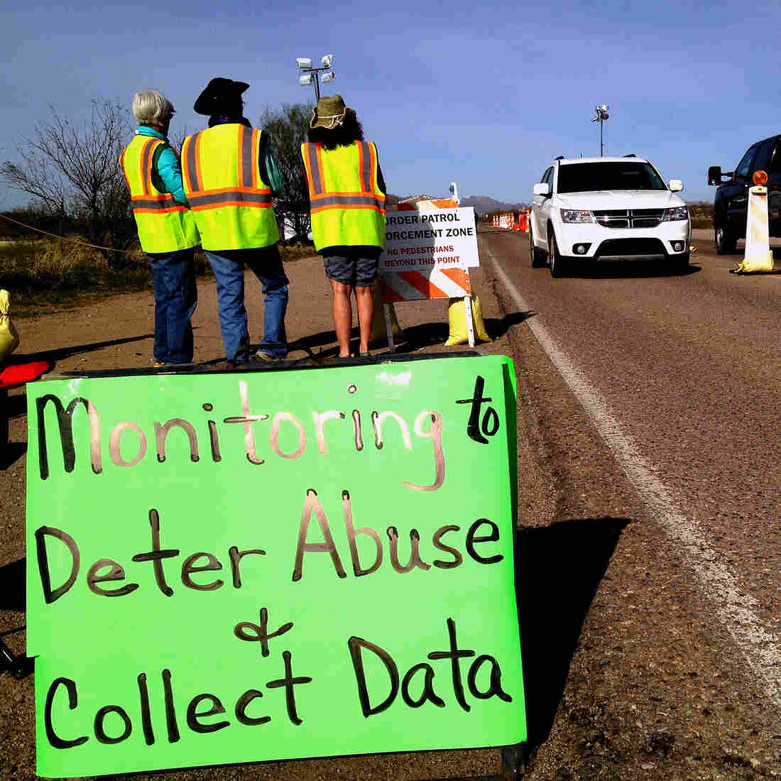 Members of the Arivaca, Ariz., community monitor an immigration checkpoint about 25 miles north of the Mexican border. Some residents say border agents go beyond their legal authority.