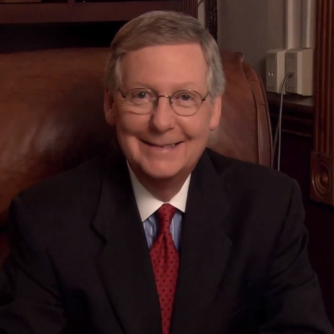 A still from Mitch McConnell's campaign video, which inspired a variety of remixes, and has been used in TV ads by outside political groups.