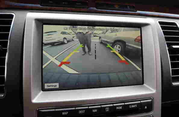 The 2009 Ford Flex vehicle showing the rear-camera view.