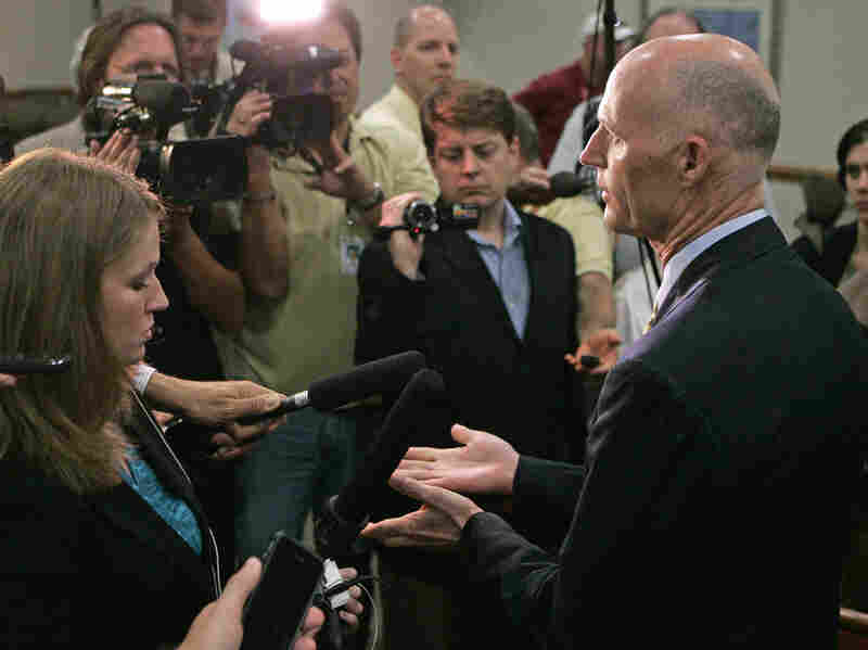 Florida Gov. Rick Scott, who led state opposition to the federal Affordable Care Act, met with reporters in Tallahassee after the U.S. Supreme Court upheld the bulk of the law. Scott, a Republican, has made his opposition central to his re-election campaign.