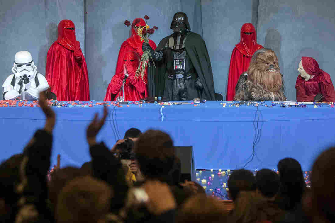 Activists from the Internet Party of Ukraine hold a party congress in Kiev on Saturday to announce the candidacy of Darth Vader.