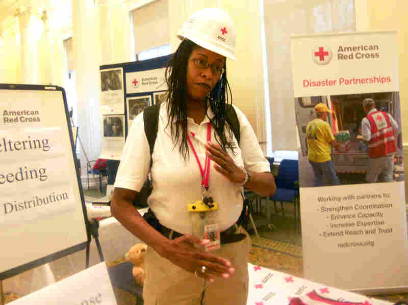 Renee Killian ran an information booth about disaster response during a Mission Day event in December 2013 at the American Red Cross National Headquarters in Washington, D.C.