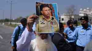 In Islamabad on Monday, this man was among supporters of former Pakist