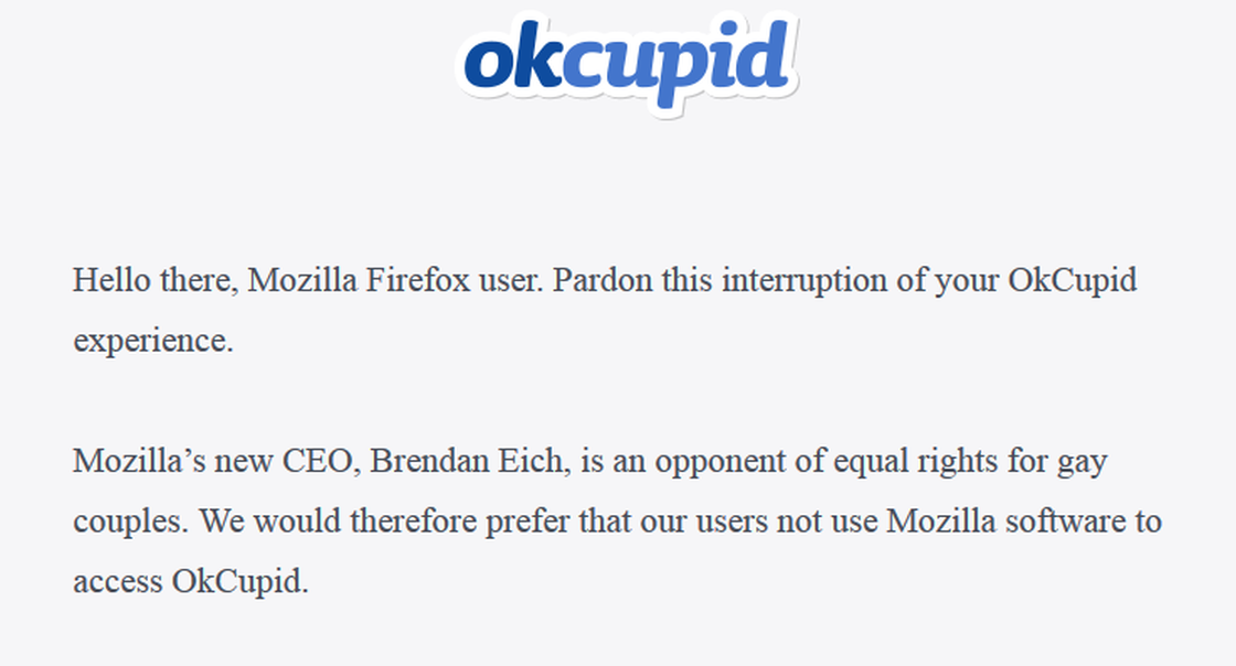 The message from OkCupid about Mozilla.
