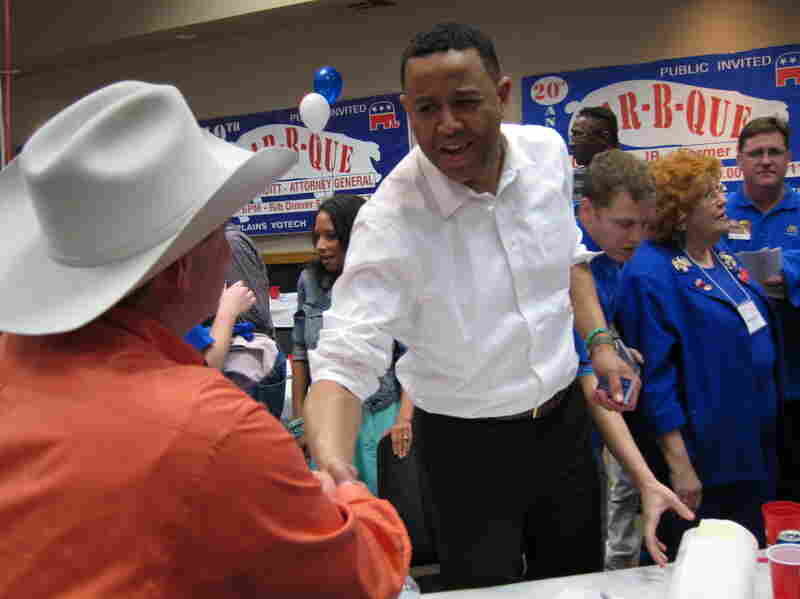 Shannon greets voters at the Comanche County, Okla., GOP barbecue on March 29.