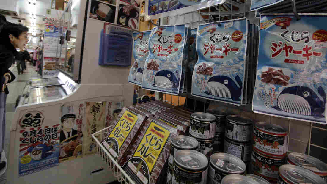 Packs of whale meat are seen in a specialty store in Tokyo last week. An international court ruled Monday that Japan must stop issuing permits to hunt whales in the Antarctic.