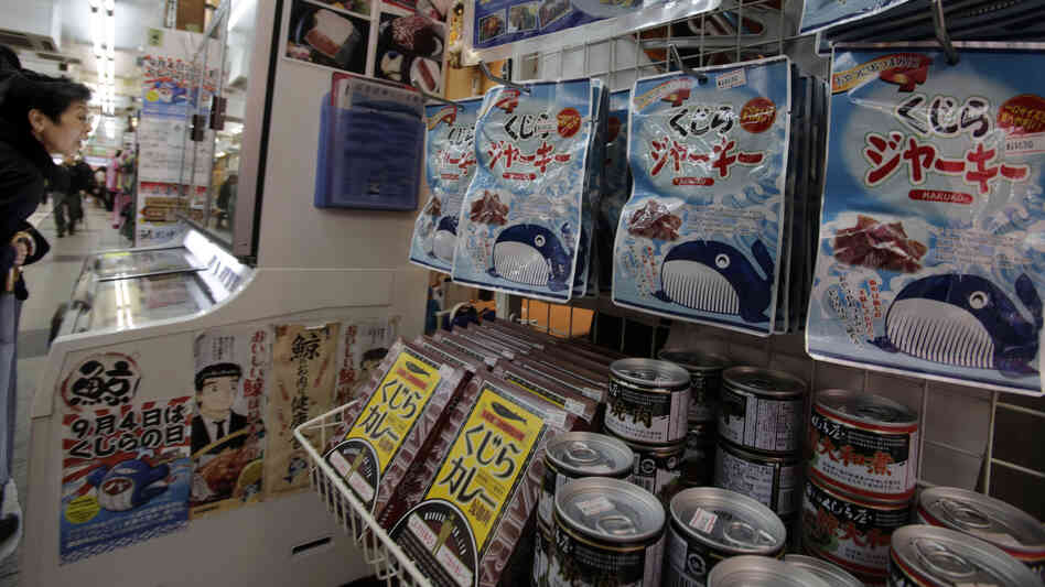 Packs of whale meat are seen in a specialty store in Tokyo last week. An international court ruled Monday that Japan must stop issuing permits to hunt whales i