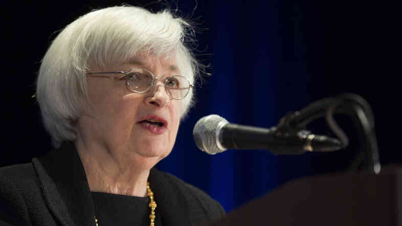 Federal Reserve Chair Janet Yellen speaking Monday in Chicago.
