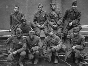 Members of the 369th Infantry Regiment wear their Croix de Guerre medals in 1919.