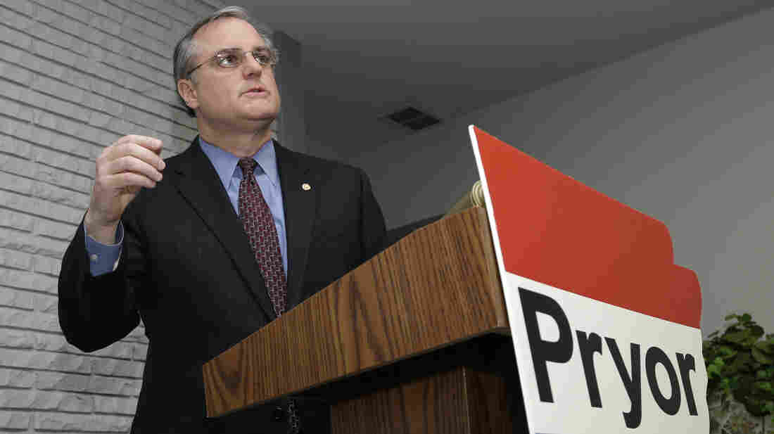 Arkansas Sen. Mark Pryor speaks to reporters at his Little Rock campaign headquarters on Feb. 28. A minimum wage increase on the ballot alongside Pryor could give Democrats more of a reason to show up on Election Day.