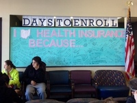 Employees crafted an inspirational billboard at the Neighborhood Family Practice clinic in Cleveland.