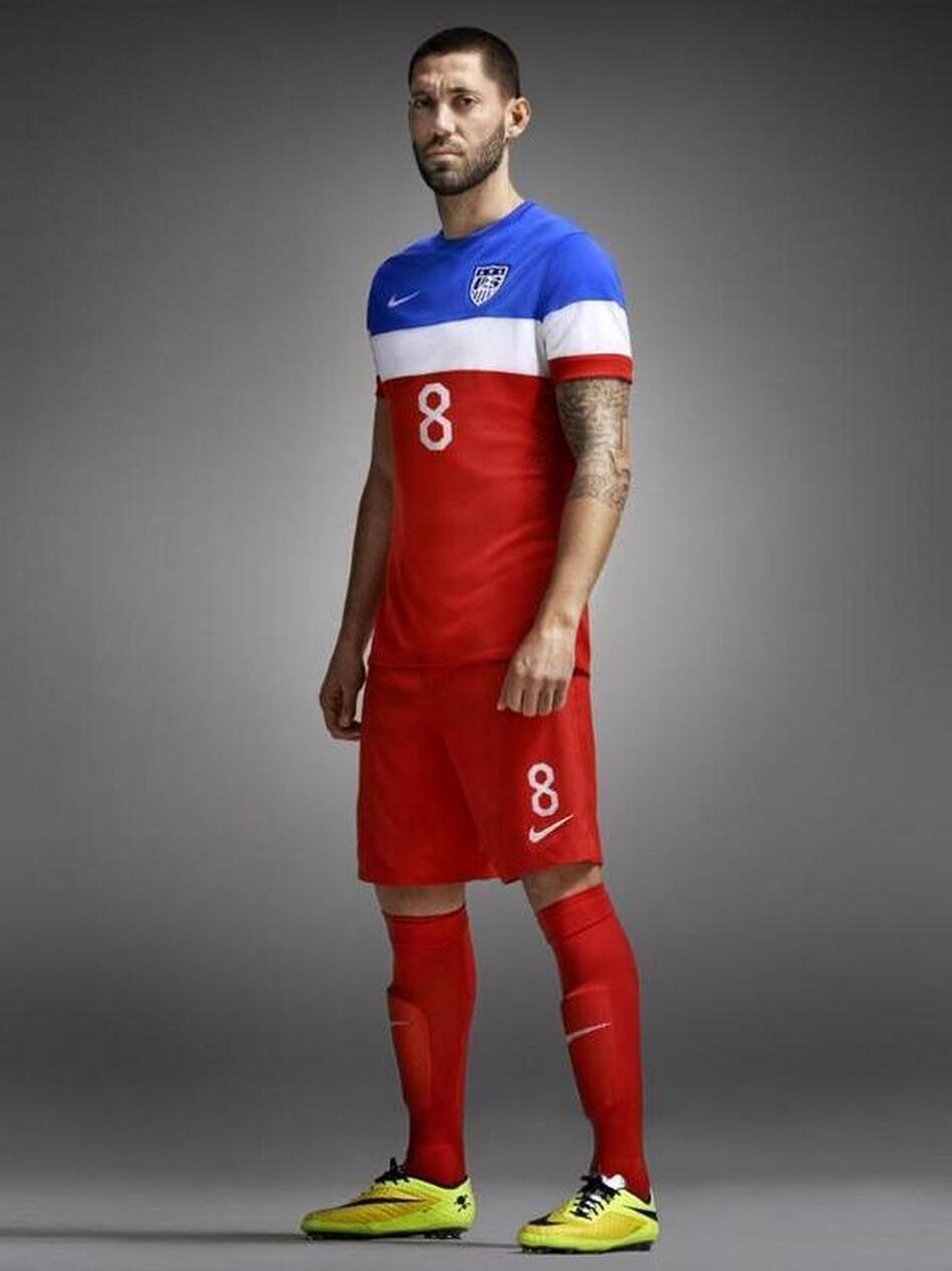 3a1052fbd0f U.S. men s national team captain models the new World Cup uniform. The kit