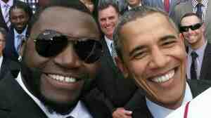 President Obama and David Ortiz of the Boston Red Sox on the front line of a group selfie Tuesday.