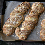 Loaves of Sweet Braided Tahini Bread