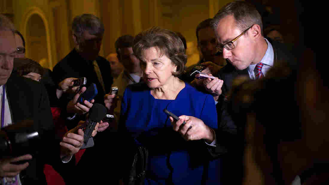 Sen. Dianne Feinstein, D-Calif., speaks with reporters after alleging that the CIA broke federal law by secretly removing sensitive documents from computers used by the Senate Select Committee on Intelligence, the committee tasked with congressional oversight of the CIA.