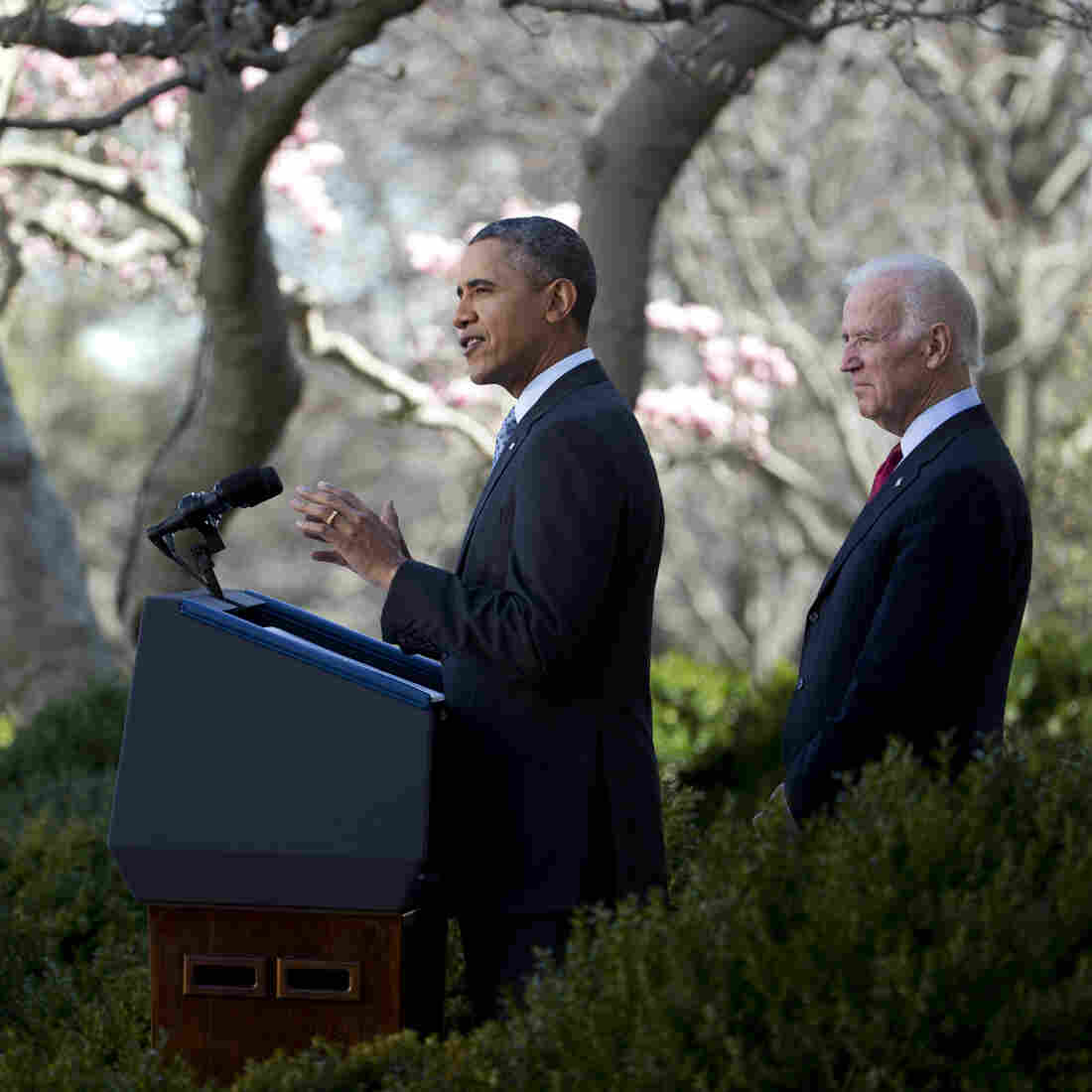 President Obama, with Vice President Biden, speaks about the Affordable Care Act on Tuesday in the Rose Garden.