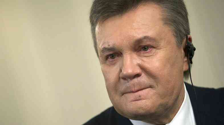 Ousted Ukrainian President Viktor Yanukovych during an interview with The Associated Press, in Rostov-on-Don, Russia, on Wednesday. He said he hoped to persuade Russian President Vladimir Putin to return Crimea to Ukraine.
