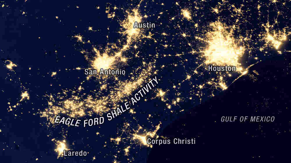This nighttime NASA satellite image from 2012 shows lights from drilling sites and natural gas flaring along the Eagle Ford Shale.
