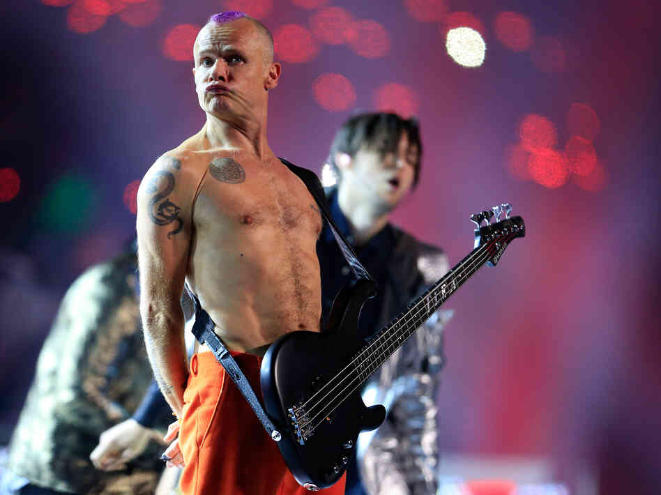 Flea, bassist for the Red Hot Chili Peppers, during the group's performance at this year's Super Bowl. He's going to write a memoir.