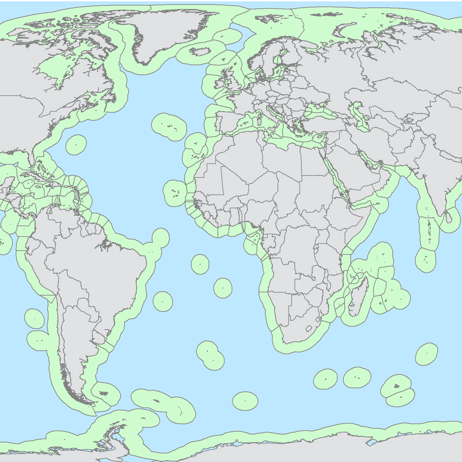A global map of exclusive economic zones (green), where fishing would be allowed, and high seas (blue), where fishing would be banned, under the proposal from researchers Crow White and Christopher Costello.